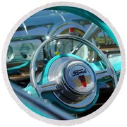 1947 Ford Deluxe Convertible Steering Wheel Round Beach Towel