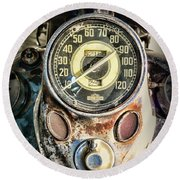 1947 Knucklehead Speedometer Round Beach Towel