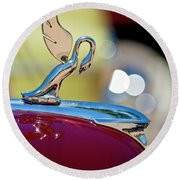 1947 Packard Coupe Hood Ornament Round Beach Towel