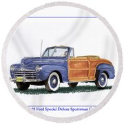 1948 Ford Sportsman Convertible Round Beach Towel