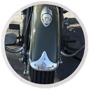 1948 Indian Chief Motorcycle Hood Ornament Round Beach Towel
