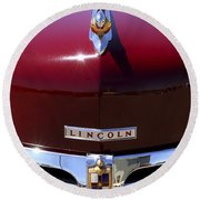 1948 Lincoln Continental Hood Ornament 3 Round Beach Towel