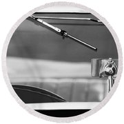 1948 Mg Tc Rear View Mirror Black And White Round Beach Towel