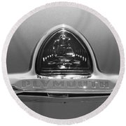 1948 Plymouth Coupe Emblem -0190bw Round Beach Towel