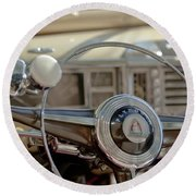1948 Plymouth Deluxe Steering Wheel Round Beach Towel