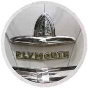 1948 Plymouth Hood Logo Round Beach Towel