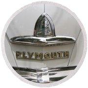 1948 Plymouth Hood Logo Round Beach Towel