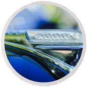 1948 Plymouth Hood Ornament Round Beach Towel