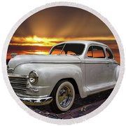 1948 Plymouth Two Door Coupe Round Beach Towel