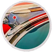 1948 Pontiac Chief Hood Ornament Round Beach Towel