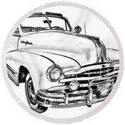 1948 Pontiac Silver Streak Convertible Illustration Round Beach Towel