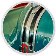 1948 Pontiac Streamliner Woody Wagon Hood Ornament Round Beach Towel