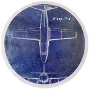 1949 Airplane Patent Drawing Blue Round Beach Towel