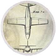 1949 Airplane Patent Drawing Round Beach Towel