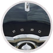 1949 Ford Hood Ornament 4 Round Beach Towel