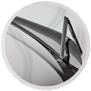 1949 Hudson Super Six  Hood Ornament -0436bw Round Beach Towel