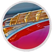1949 Plymouth Hood Ornament Round Beach Towel by Jill Reger