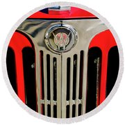 1949 Willys Jeepster Hood Ornament And Grille Round Beach Towel