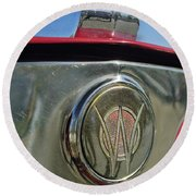 1949 Willys Jeepster Hood Ornament Round Beach Towel
