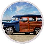 1949 Willys Woody Wagon I Round Beach Towel