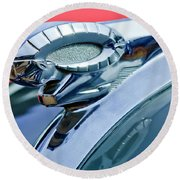 1950 Dodge Coronet Hood Ornament Round Beach Towel by Jill Reger