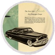 1950 Lincoln 6 Passenger Coupe Round Beach Towel