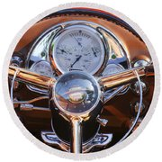 1950 Oldsmobile Rocket 88 Steering Wheel 2 Round Beach Towel