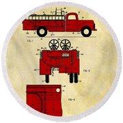 1950 Red Firetruck Patent Round Beach Towel