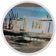 1950's - At The Hopi Village Round Beach Towel
