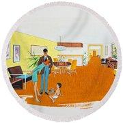 1950's Motel Room Retro Artwork Round Beach Towel