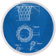 1951 Basketball Net Patent Artwork - Blueprint Round Beach Towel by Nikki Marie Smith