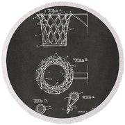 1951 Basketball Net Patent Artwork - Gray Round Beach Towel