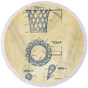 1951 Basketball Net Patent Artwork - Vintage Round Beach Towel