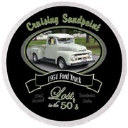 1951 Ford Truck Shields Round Beach Towel