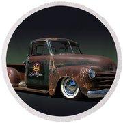 1951 Rusty Chevrolet Pickup Truck Round Beach Towel