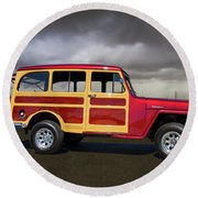 1951 Willy's Jeepster Round Beach Towel