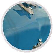 1952 Crosley Super Woody Wagon Hood Ornament Round Beach Towel