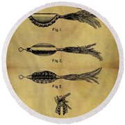 1952 Fish Lure Patent Round Beach Towel