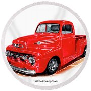 1952 Ford Pick Up Truck Round Beach Towel