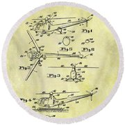 1952 Helicopter Patent Round Beach Towel