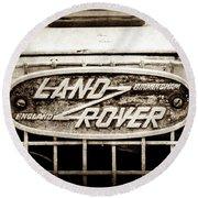 1952 Land Rover 80 Grille  Emblem -0988s2 Round Beach Towel