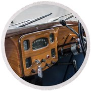 1952 Triumph Renown Limosine Instrument Panel Round Beach Towel