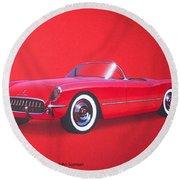 1953 Corvette Classic Vintage Sports Car Automotive Art Round Beach Towel
