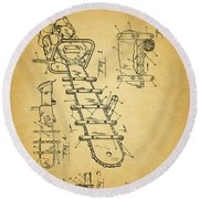 1954 Chainsaw Patent Round Beach Towel