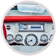 1954 Chevrolet Corvette Dashboard Round Beach Towel