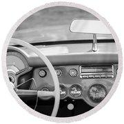 1954 Chevrolet Corvette Steering Wheel -368bw Round Beach Towel