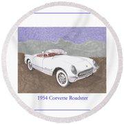 1954 Corvette Roadster Round Beach Towel
