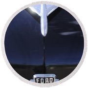 1954 Ford Hood Ornament Round Beach Towel