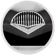 1954 Kaiser Darrin Grille Black And White Round Beach Towel