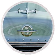 1954 Oldsmobile Super 88 Hood Ornament 3 Round Beach Towel